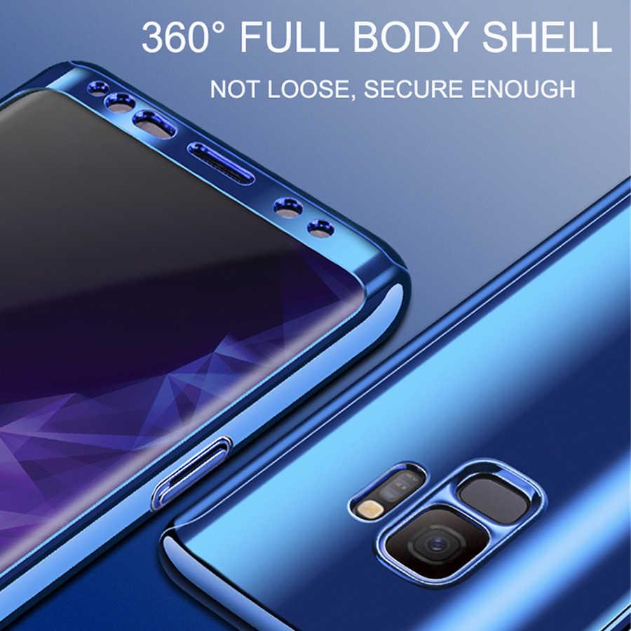 360 ชุบกรณีกระจกสำหรับ Samsung S8 S9 S10 Plus Full COVER ป้องกันสำหรับ Samsung Galaxy S7 EDGE หมายเหตุ 9 8 10 Pro