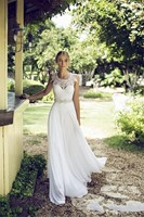 2018 vestido de noiva Beach A line Spring Summer Backless Sleeveless Sexy Lace Appliques Beads Bridal Gown bridesmaid dresses