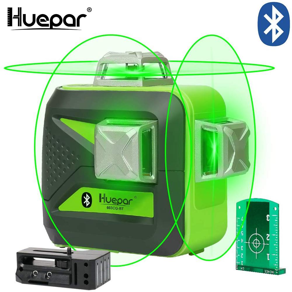 Huepar Laser-Level Cross-Line Green-Beam Bluetooth 3x360 3D with Connectivity Usb-Charge
