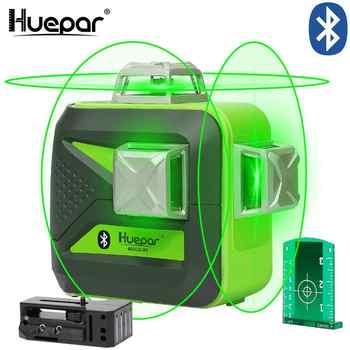 Huepar 3x360 Grüne Strahl 3D Laser Ebene mit Bluetooth Konnektivität Selbst Nivellierung Kreuz Linie USB Aufladen Einsatz trockenen & Li-Ion Batterie