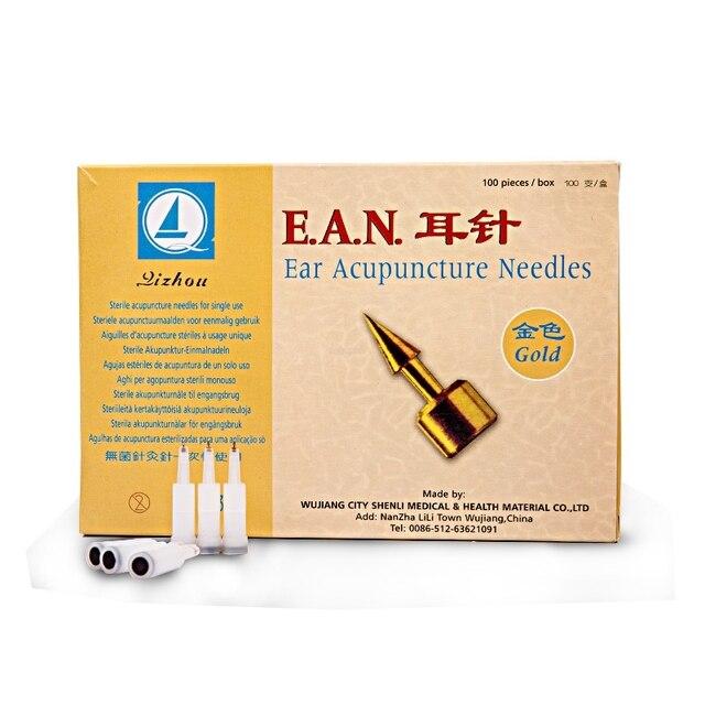 100 sztuk/pudło akupunktura ucha igły sterylne uszne akupunktura ucha igły punktów akupunktury do jednorazowego użytku