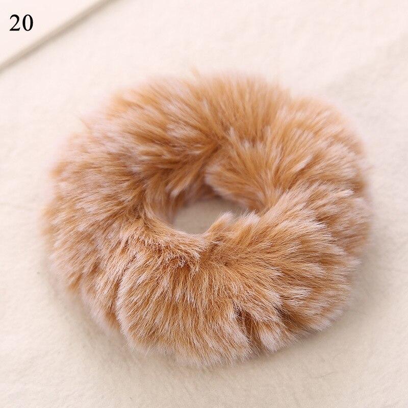 Новые зимние теплые мягкие резинки из кроличьего меха для женщин и девушек, эластичные резинки для волос, плюшевая повязка для волос, резинки, аксессуары для волос - Цвет: 20