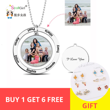 StrollGirl Personalized Custom Color Photo Engraved Necklace 925 Sterling Silver Circle Suspensions Memorial Necklaces Mom Gifts