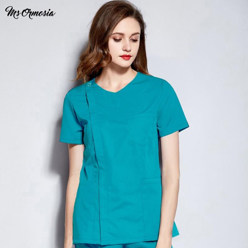 Hospital Doctor Surgery Uniforms Cotton Summer V-Neck Short Sleeve Beauty Scrubs Medical Uniform Women Sets Surgical Gowns Scrub