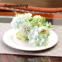 Xuanxiaotong 7 Head Dandelion Bouquet Rose Peony Flower Ball Artificial Flowers for Fall Home Christmas Decor Wedding Decoration