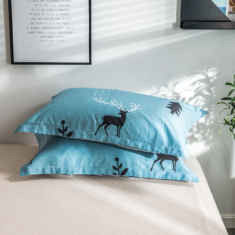 Cartoon Green Forest Deer Printed Pillowcase 100% Cotton Material Pillow Cover One Pair Pillow Shams for Adult Kids 48x74cm Size image