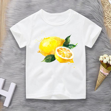 Fashion Funny Fruit Lemon Costume Printed T Shirt Hand Drawn Painted Boy/Girl/Baby Hipster O-neck Cool Tee Brand Clothing 2-10t