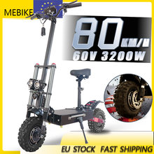EU stock 11inch Fat Wheel E Scooter with 90-100kms 3200 W Range Dual Engine drive Scooter 20Ah 26 AH Battery CE Certification