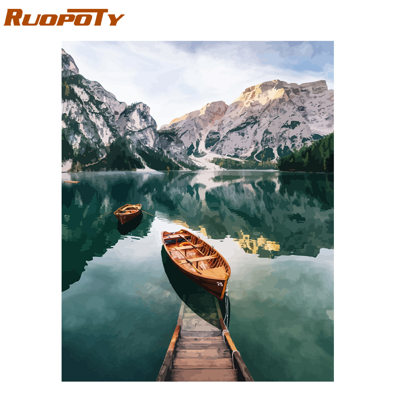 RUOPOTY Painting Numbers-Landscape-Handpainted Canvas Wall-Art Mountain-Lake Modern Home