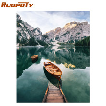 RUOPOTY Frame Mountain Lake pittura fai da te By Numbers paesaggio dipinto a mano pittura a olio moderna casa Wall Art Canvas Painting Art(China)