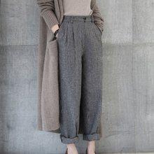 Thick Spring Autumn Woolen Pants Women Elastic High Waist Casual Loose Wide Leg Plaid Pants Plus Size Korean Ladies Trousers недорого