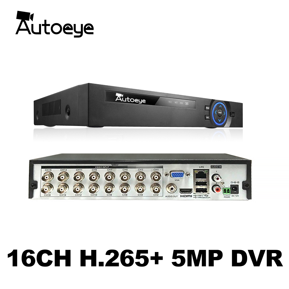Autoeye 6in1 H.265 + 16 GB/8/4ch AHD DVR для AHD TVI CVI 5MP 4MP 1080P 720 Камера рекордер наружного наблюдения NVR IP Камера Xmeye Onvif CCTV DVR