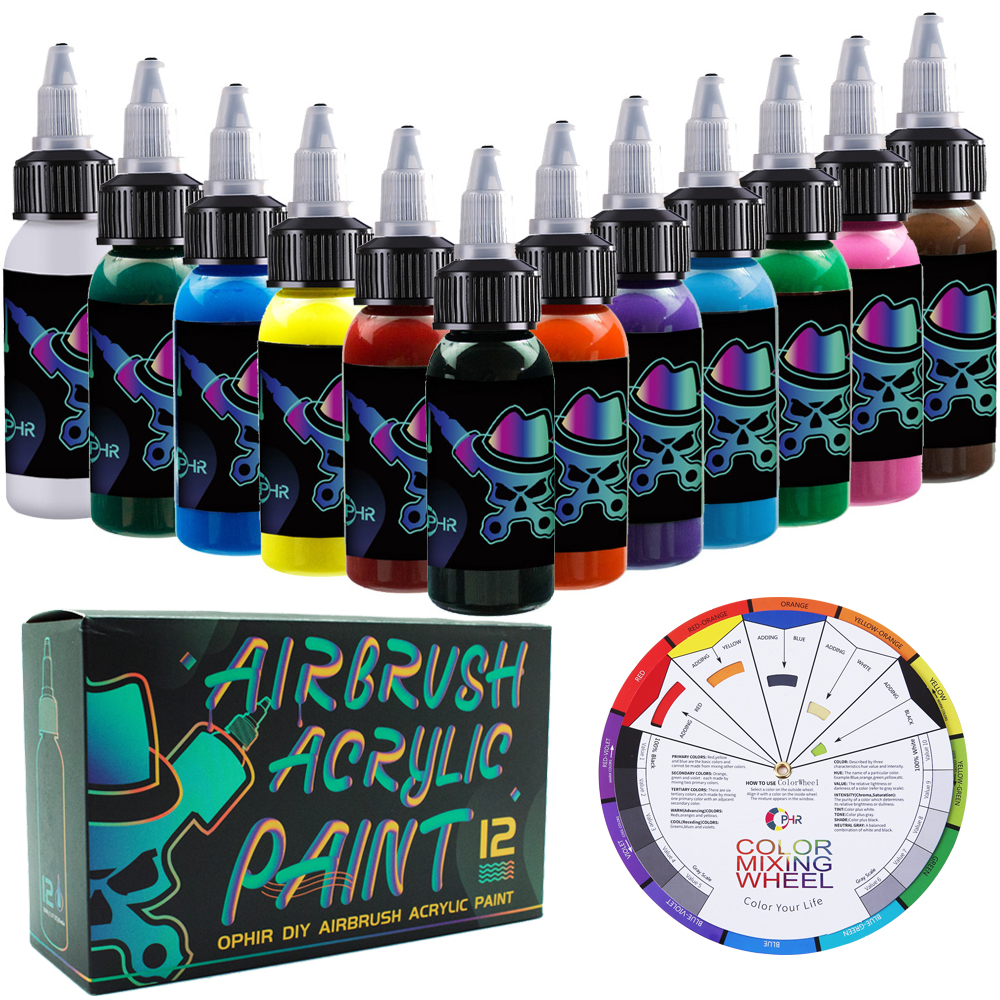 OPHIR 12 Colors Airbrush Acrylic Ink For Model Painting Shoes Leather Painting Nail Art Airbrush DIY Paint TA005(1-12)