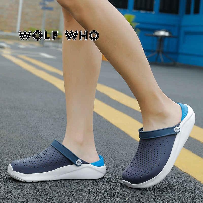 2021 Men's Sandals Summer Beach Men Casual Slip-on Shoes Slipper Male Croc Clogs Crocks Crocsed Water Shoes Sandalias Hombre X13