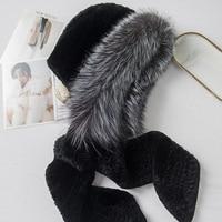 ZDFURS* Women Knitted Rex Rabbit Fur Scarf Hats Hoodies Silver Fox Fur Collars Strips Lady's Warm Wraps Muffler Rings Fashion
