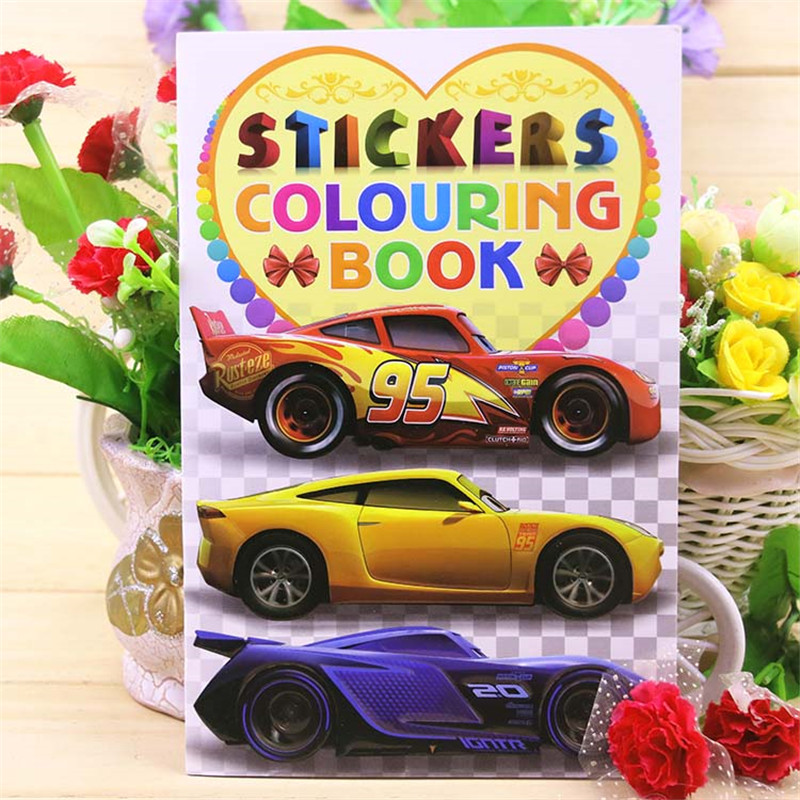 20x27CM 16 Page Car Coloring Book Sticker Book Children Kids Books Adults Coloring Books Painting/Drawing/Art 2 Cover Patterns