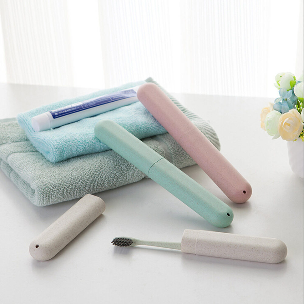 1pcs Tooth Brushes Case Wheat Straw Portable Travel Toothbrush Chopsticks Pencil Box Tooth Brushes Protector