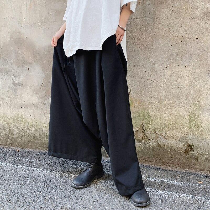 MIXCUBIC Pants Men Trouser Loose England-Style Design Casual Autumn for Legs Collapse