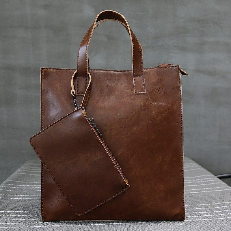 Men's Bag Briefcase Handbag Leather Shoulder Bag  Large Capacity Messenger Bag Leather Bag Men