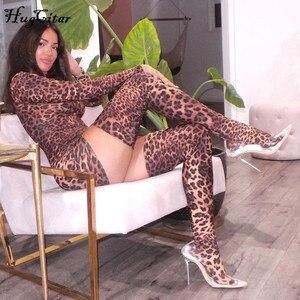 Image 2 - Hugcitar 2019 הדפס מנומר סקסי מיני שמלה עם כפפות גרבי סתיו חורף נשים streetwear מועדון מסיבת Chirstmas תלבושות