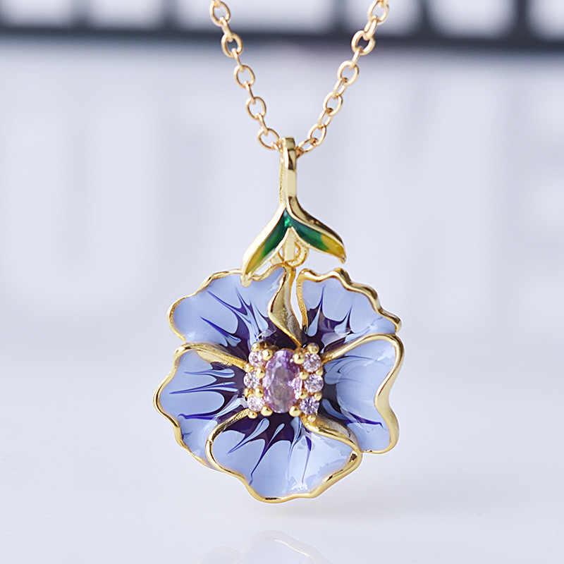 Kuncup Bunga Mawar Yang Elegan Kuning Emas Pernikahan Pertunangan Cincin Kalung Anting-Anting Set untuk Wanita Indah Buatan Tangan Ungu Perhiasan Enamel
