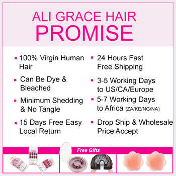 Ali Grace Brazilian Straight Hair With Closure 100% Remy Human Hair 4 Bundles With 4*4 Free Middle Part Lace Closure