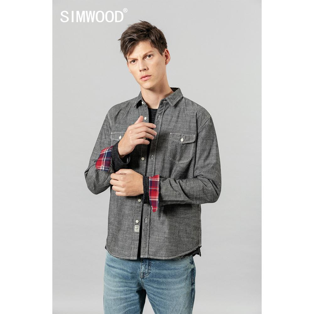 SIMWOOD 2020 Spring New Shirts Men 100% Cotton Grey Top-stitching Check Pockets Casual Shirts High Quality Brand Clothing 190441