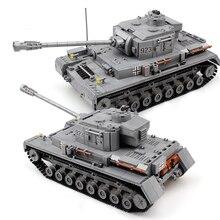 Tanque de bloques de construcción de Panzer grande para niños, serie militar, 1193 Uds., ciudad del ejército, iluminar, piezas, juguetes para niños, Compatible con tanque