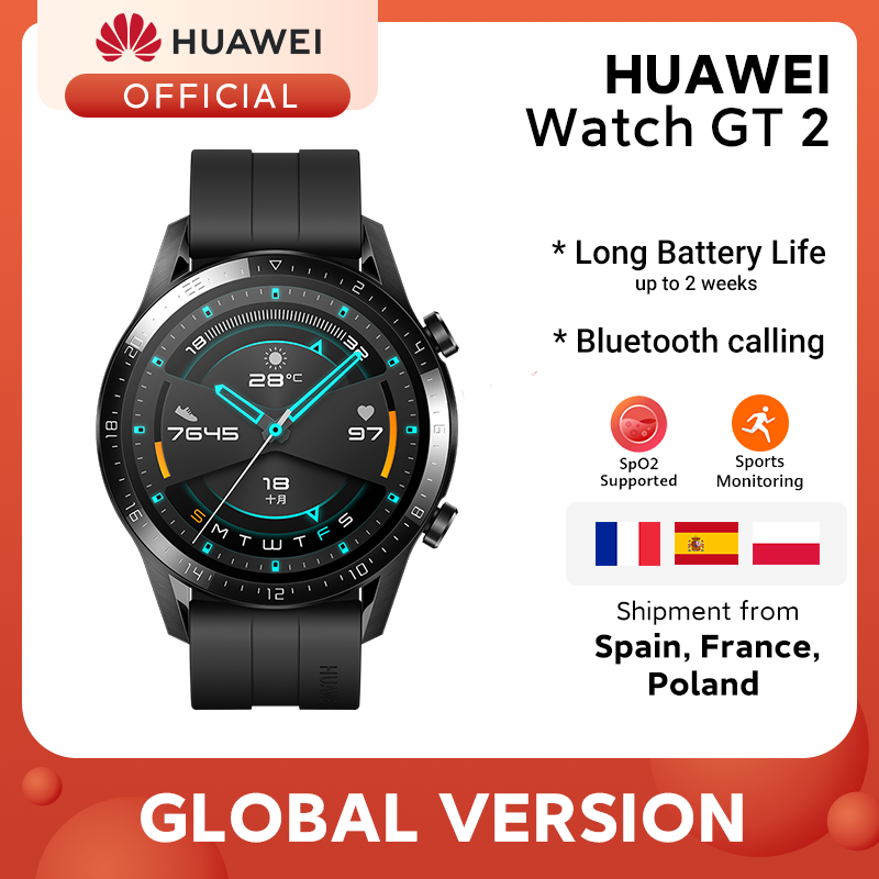 Hot DealsHUAWEI Heart-Rate-Tracker GPS Smart-Call Android 14-Days-Phone Global-Version GT 2-Gt2
