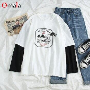 harajuku long Sleeve T-shirt Women Hip-hop Ulzzang Tees Korean Style letter print T-shirts Girls autumn Fashion black white tops 1