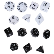 14 Pcs Dice Sets, Polyhedral Dice, 7Pcs Multi Sided Dices Role Playing Toy Board Game, Black & White