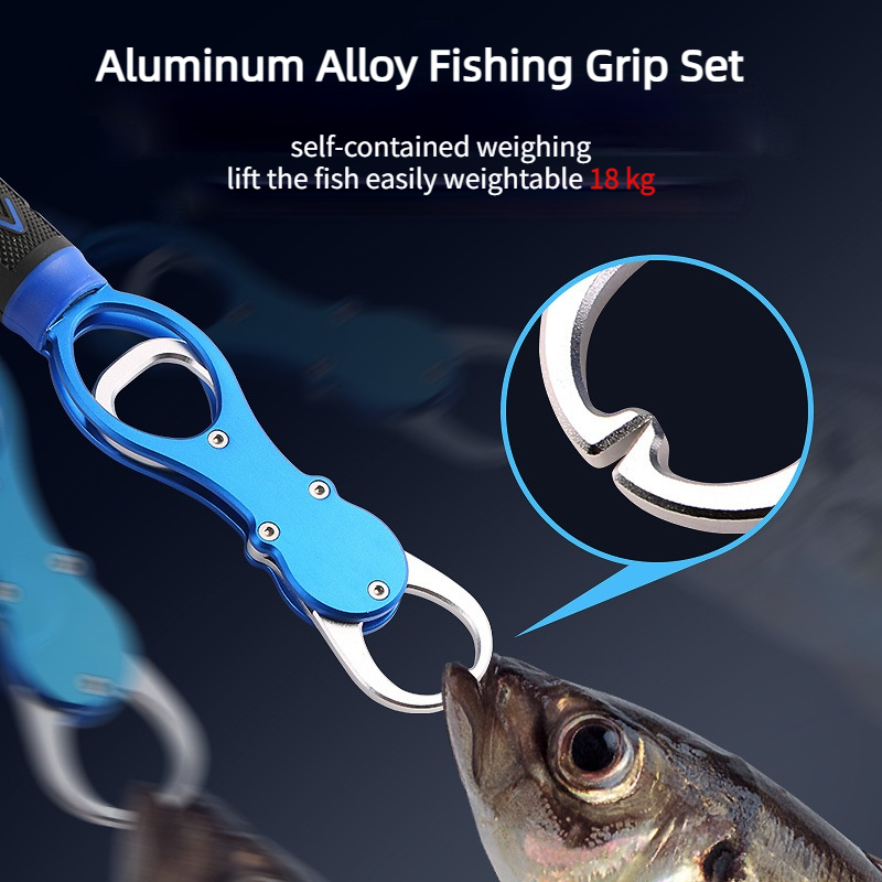 Portable Aluminum Alloy Fishing Pliers Grip Set Fishing Tackle Gear Hook Recover Cutter Line Split Ring Fishing Gadget