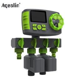 Aqualin, sistema de riego automático de 4 zonas, temporizador de riego para jardín, sistema de controlador de temporizador de agua con 2 válvulas de solenoide #10204