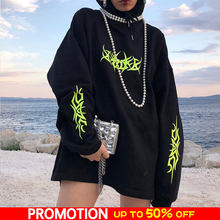 Gothic Hooded Hoody Women Black Neon Print Women's Hoodies Loose Pullover Autumn 2019 Streetwear Oversize Hoodie Female Top(China)