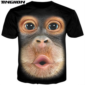 3D Animal Tshirt Male Funny Monkey Gorilla Tee Shirt Unisex Short Sleeve Harajuku Streetwear T Shirt Men Summer Tops XS 6XL 7XL