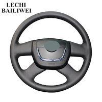 Black Genuine leather Hand stitched Car Steering Wheel Cover for Skoda Skoda Octavia a5 2012 Octavia Superb 2012 Fabia