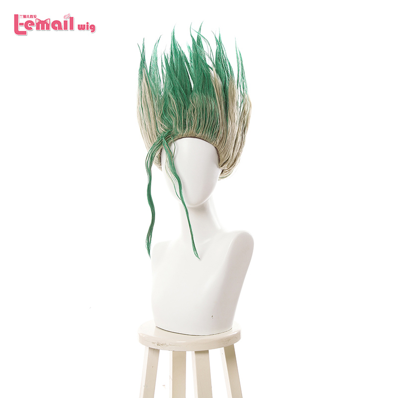L-email wig Dr.STONE Senkuu Cosplay Wigs Short Mixed Green Straight Cosplay Wig Men Wig Heat Resistant Synthetic Hair Perucas