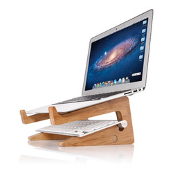 Newly Laptops Stand Bamboo Notebook Holder Multifunctional Desktop Heat Dissipation Vertical Wooden Storage Rack for Home Office