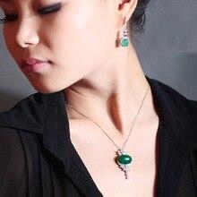 цена на S925 Sterling Silver Jade Pendant for Women Silver S925 Jewelry Necklace Emerald Bizuteria Pierscionki Gemstone Chain Joyas