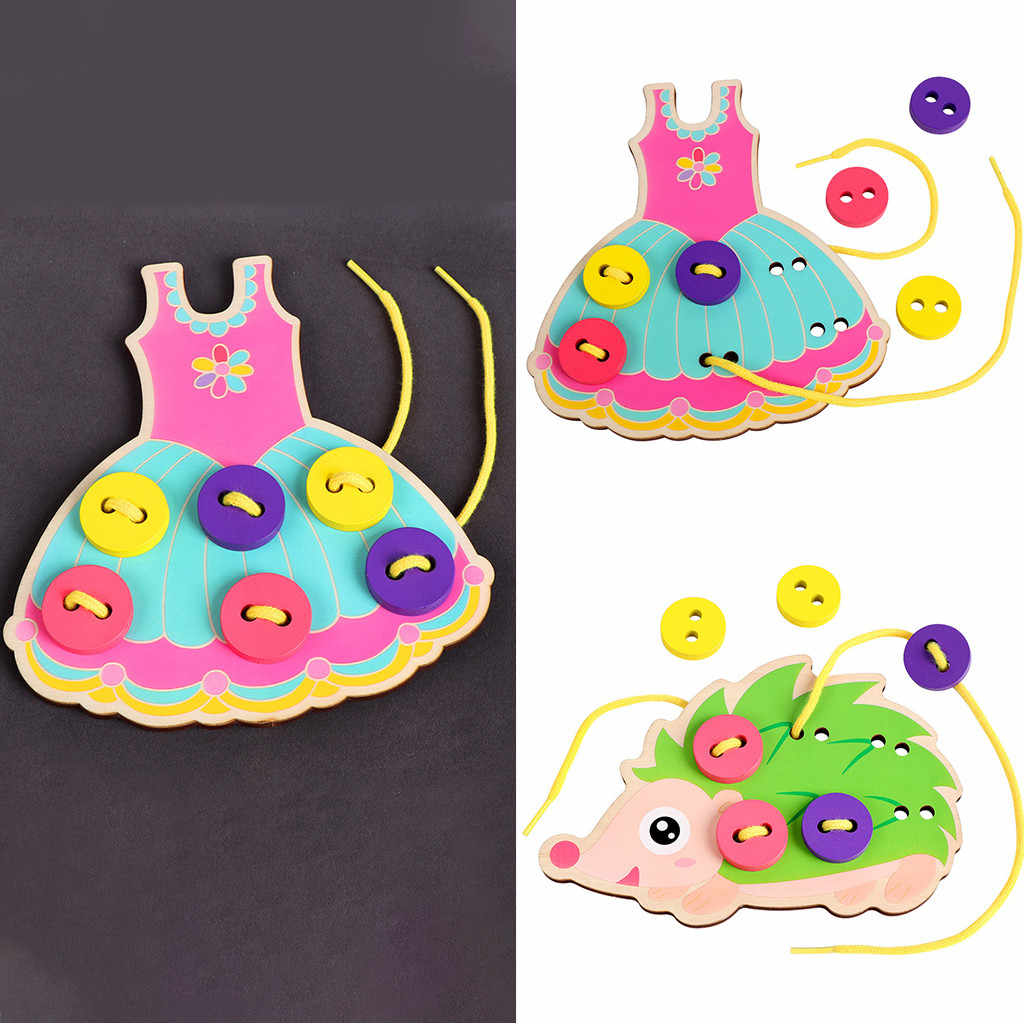 Montessori Early Educational Toys Learn To Wear Clothes Lacing Board Kids Wooden Toys Toddler Sew On Threading Buttons
