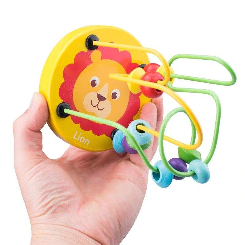 Деревянные игрушки Монтессори, деревянные круги, бусина, проволока, лабиринт, американские горки, Обучающие деревянные пазлы для мальчиков и девочек, детские игрушки 6+ месяцев