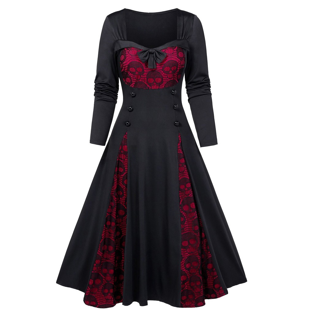 Ladies Halloween Cosplay Costumes Vampire Witch Costume Plus Size Halloween Skull Lace Insert Mock Button Bowknot Dress Hot sale