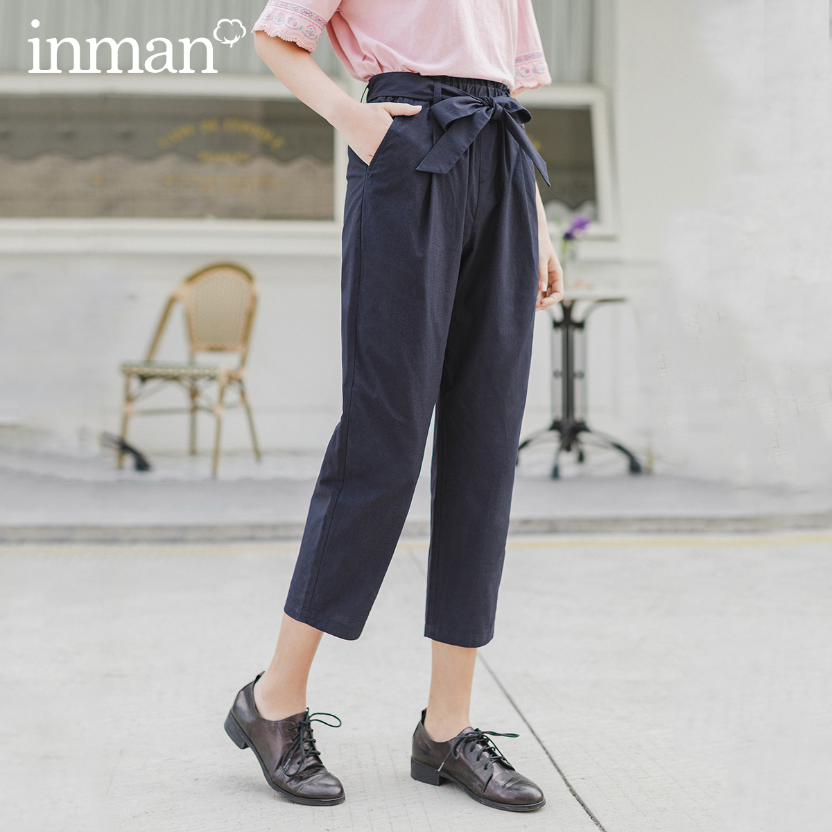 INMAN 2020 Spring New Arrival Cotton Bowknot Lace-up All-match Slimmed Loose Leisure Eight Out Of Ten Pant