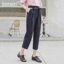 INMAN 2020 printemps nouveauté coton nœud à lacets tout match mince loisirs huit sur dix pantalon