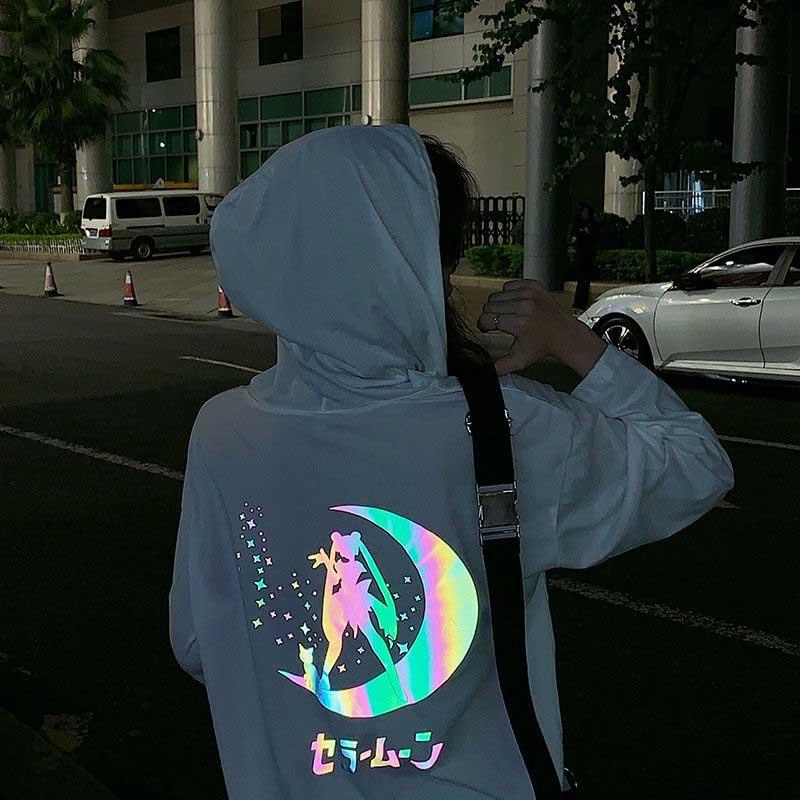 NiceMix Hoodies Women Cartoon Sailor Moon Reflect Light Printing Midnight Woman Sweatshirt Hoodies Women Harajuku Kpop Riverdale