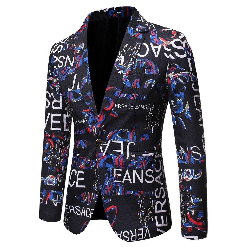 Autumn Man Letter Printing Self-cultivation Suit Single Suit Full Dress Show Serve