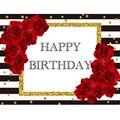 Черно-белый фон в полоску с красивыми цветами на день рождения на заказ фон для фотосъемки