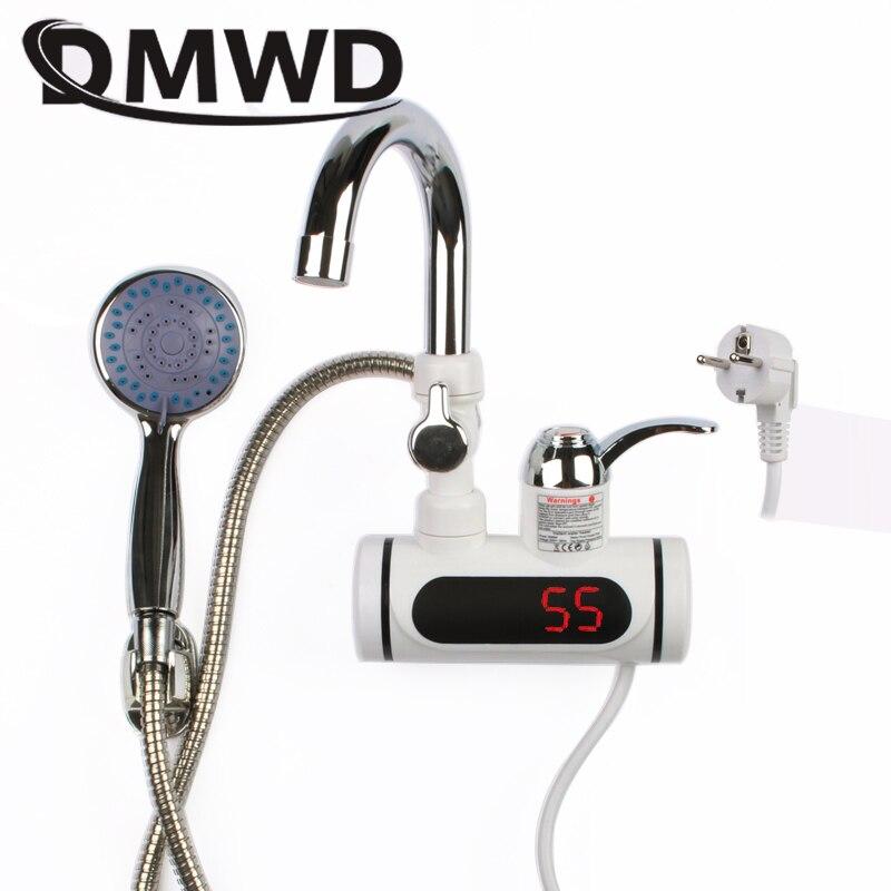 DMWD 3000 Вт Температурный Дисплей, мгновенный нагреватель горячей воды, смеситель для кухни, мгновенный Электрический Нагреватель без бака, Душ