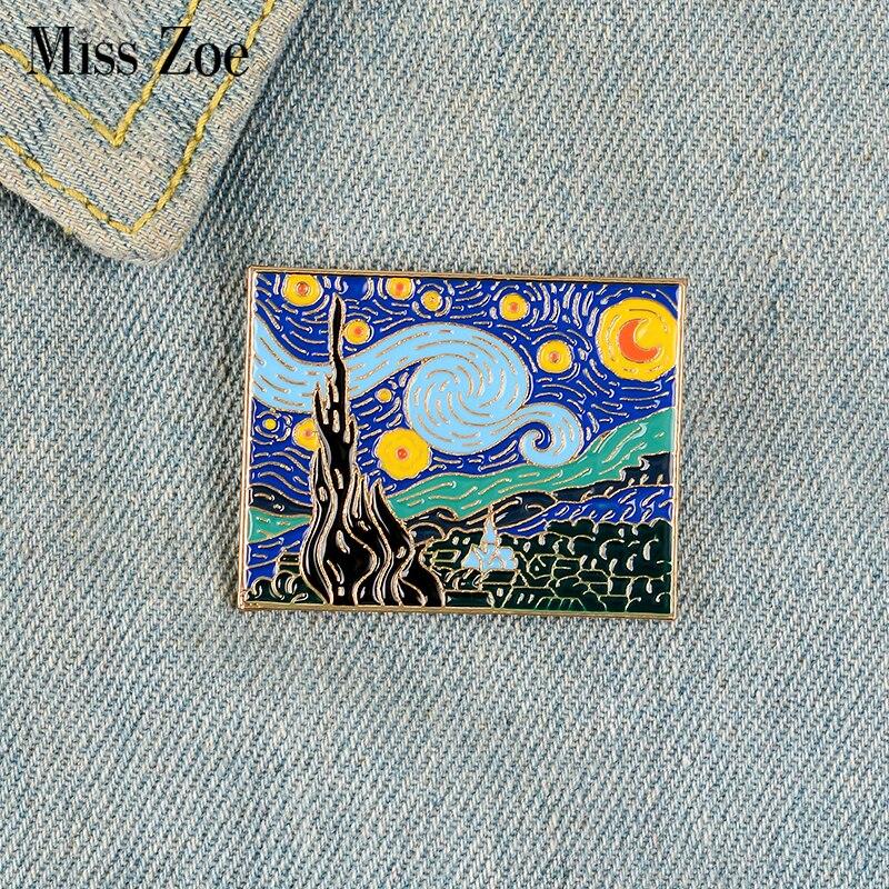 Эмалированная брошь с изображением звездной ночи на заказ, картина маслом Ван Гога, брошь для рубашки, лацкана, сумки, художественный значок...