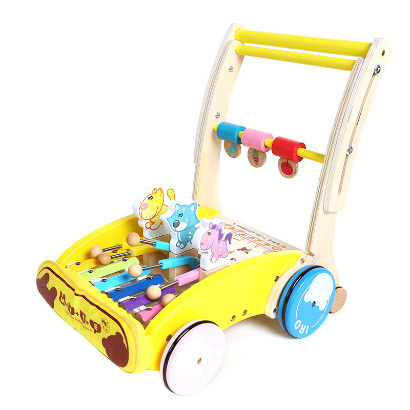 Wooden Learning Walker Adjustable Height Toddler Kids Sit-to-Stand Push Toy with Accessories Multi-Activities Developmental Play